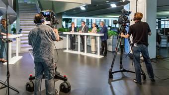Aufzeichnungen «Talk Täglich spezial» zu den Wahlen im Aarauer Newsroom: Making of