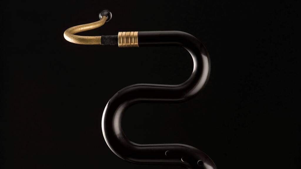Das Blasinstrument Serpentino erzeugt einen berührenden Klang. Forschende möchten das historische Instrument nachbauen und mit einer Melanin-Schutzschicht vor Pilzen und Schädlingen schützen.