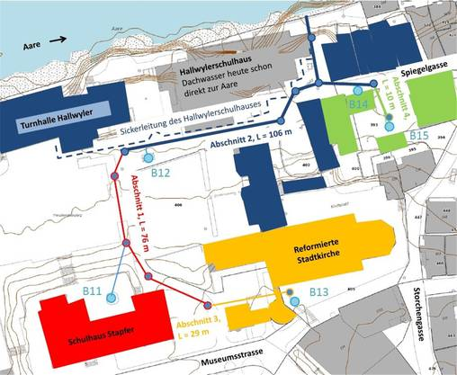 Im Einwohnerrat steht ein Kredit von 590000 Franken für den Neubau einer Sauberwasserleitung im Gebiet Stapfer zur Diskussion. zvg