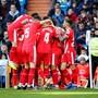 Roter Jubel in Madrid: Die Spieler von Girona feiern hier den Ausgleich