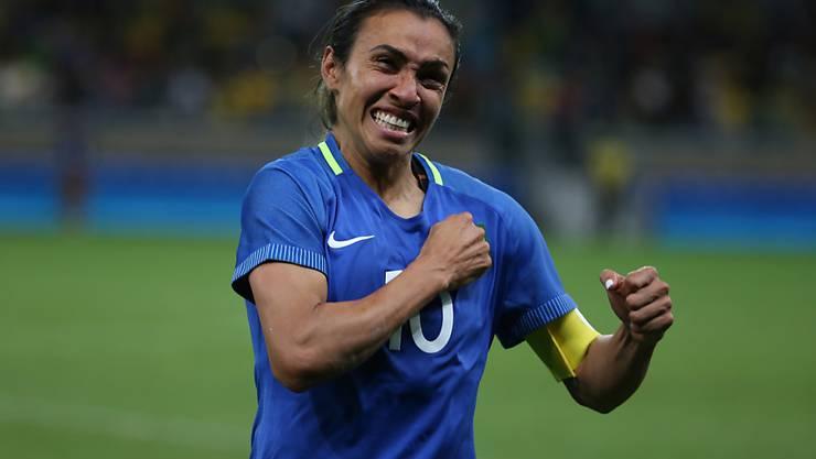 Penalty verschossen, aber trotzdem Grund zum Jubeln: Brasiliens Stürmerstar Marta