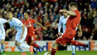 Dank einem Penalty-Treffer von James Milner (5.) zieht der FC Liverpool in die Achtelfinals der Europa League ein