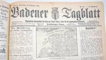 1918 war das BT noch «Allgemeines Anzeigenblatt für Stadt und Bezirk Baden, sowie für die angrenzenden Landesteile».
