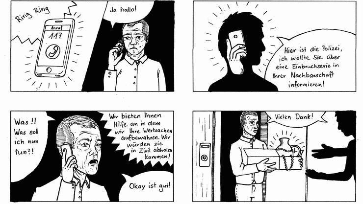 Anhand einfacher Comics zeigt die Kantonspolizei Solothurn verschiedene Betrugsmaschen auf.