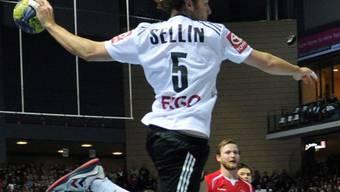 Der Deutsche Johannes Sellin kommt ungehindert zum Torwurf.