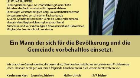 Flugblatt zugunsten von Kurt Kaufmann.