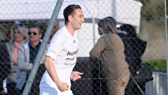 Michael Koch, der Bomber des FC Muri beim Torjubel. Ob er auch gegen den FC Wohlen jubeln wird?