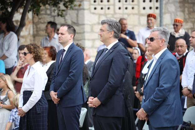Kroatiens Premierminister Andrej Plenković an einer Feier für den Nikola Tavelić am Sonntag in der kroatischen Küstenstadt Šibenik.