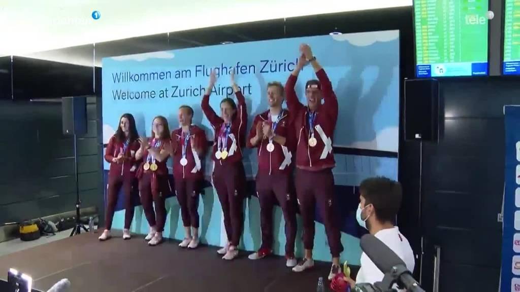 Empfang Olympia-Delegation am Flughafen Zürich