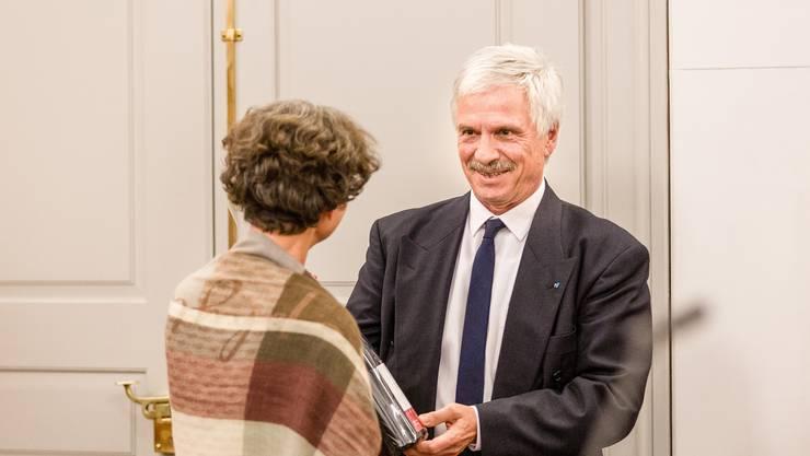 Letzte Grossratssitzung des Jahres 2018 im Grossen Rat Aargau. Mit Abschiedsrede GR-Präsident Bernhard Scholl (im Bild) sowie dem traditionellen Umtrunk.