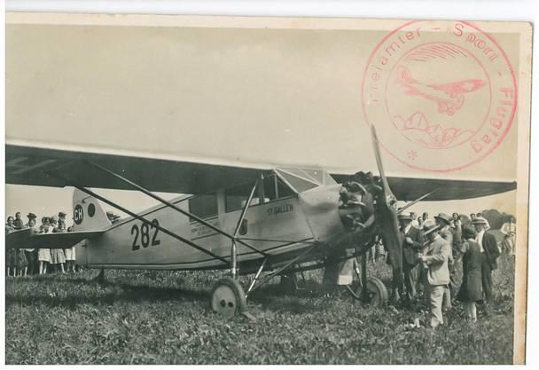 G. Alpsteg in Dürrenäsch erhielt 1931 eine Karte vom 1. Freiämter Sport-Flugtag im Kapf Muri.