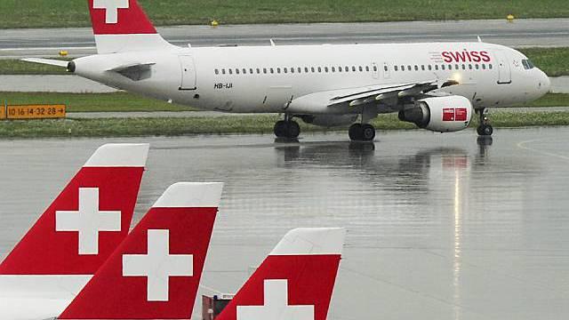 Flugzeuge der Swiss in Zürich-Kloten