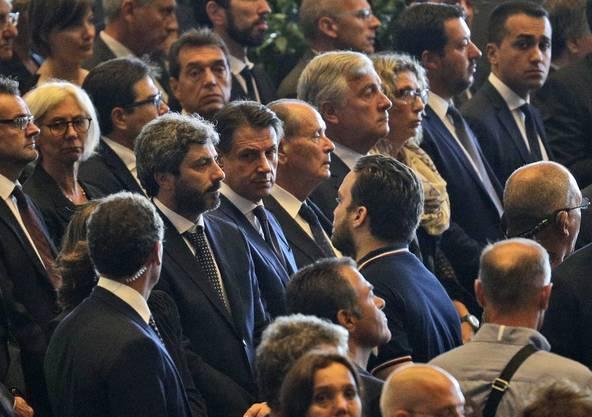 Die italienischen Staatsmänner Giuseppo Conte, Roberto Fico, Luigi di Maio und Matteo Salvini nahmen am Gedenkanlass teil.