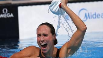 Rikke Möller Pedersens Jubel nach dem Weltrekord über 200 m Brust.