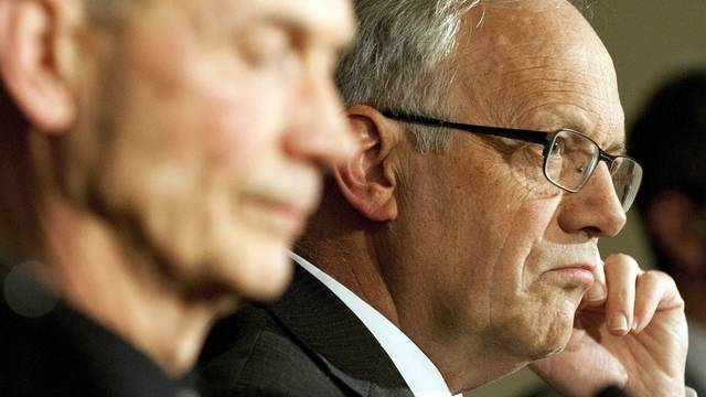 WTO-Generaldirektor Pascal Lamy (l.) neben Bundesrat Schneider-Ammann