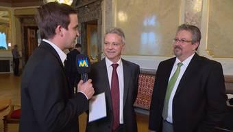 Nicht gleicher Meinung: Hans Killer (SVP) und Beat Flach (GLP) diskutieren im «Fokus» auf Tele M1 über die Energiestrategie 2050
