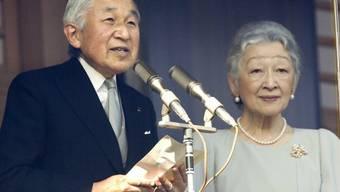 Kaiser Akihito und seine Frau Michiko