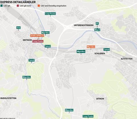 Die Express-Detailhändler in der Region: Drücken Sie zur Vergrösserung auf die Karte.