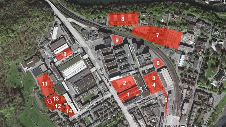 Übersicht über die 14 anstehenden Projekt in Baden Nord