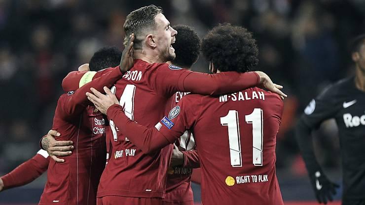 Liverpool feiert das 1:0 von Naby Keïta