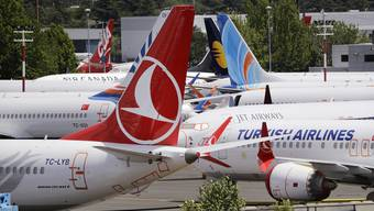Dutzende von geerdeten Boeing 737 MAX-Flugzeugen drängen sich auf einem Parkplatz neben dem Boeing Field in Seattle.
