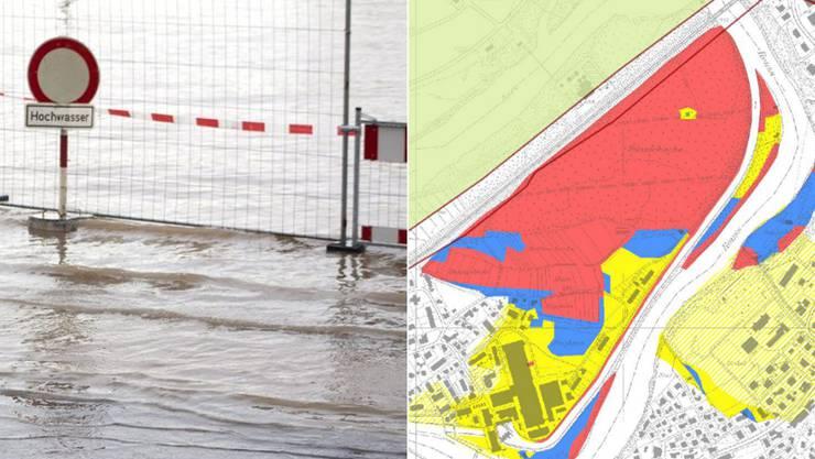 Rote Flächen auf der Gefahrenkarte bedeuten eine erhebliche Gefährdung.