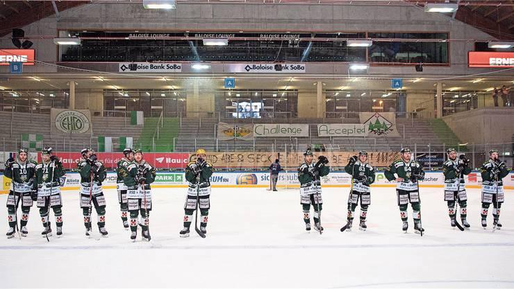 Der EHC Olten nach dem Saisonende Ende Februar im Stadion Kleinholz. Bild: Urs Lindt/freshfocus