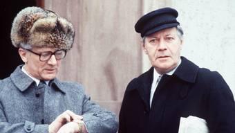 Helmut Schmidt (r.) 1981 mit DDR-Staatschef Erick Honecker.