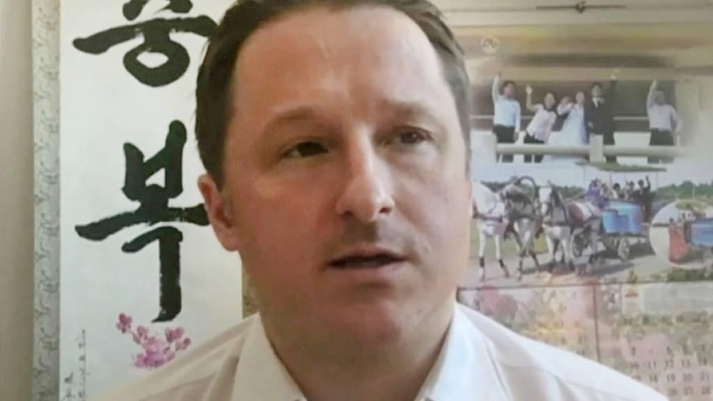 ARCHIV - Korea-Experte Michael Spavor während eines Skype-Interviews im März 2017. Fast drei Jahre nach ihrer Festnahme in China sind die kanadischen Geschäftsleute Michael Spavor und Michael Kovrig auf freien Fuß gesetzt und in ihre Heimat ausgeflogen worden. Foto: Uncredited/AP/dpa