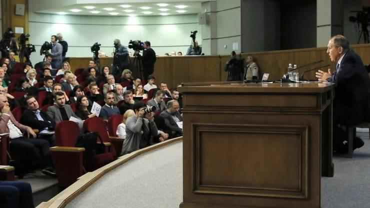 Sergej Lawrow am Montag bei seiner traditionellen Medienkonferenz zum Jahresbeginn in Moskau.