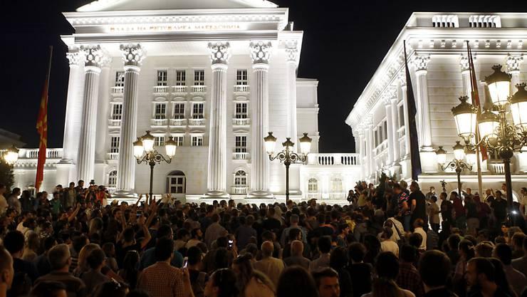 Hauptsache: etwas fürs Auge. Das Regierungsgebäude in der mazedonischen Hauptstadt Skopje.