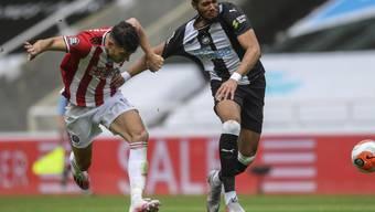 Sheffields Verteidiger John Egan hält Newcastles Joelinton zurück