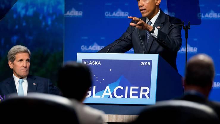 """""""Wir handeln nicht schnell genug"""", sagte US-Präsident Obama bei seinem Appell für eine Einigung in Klimafragen. Obama weilt auf einem dreitägigen Besuch in Alaska."""