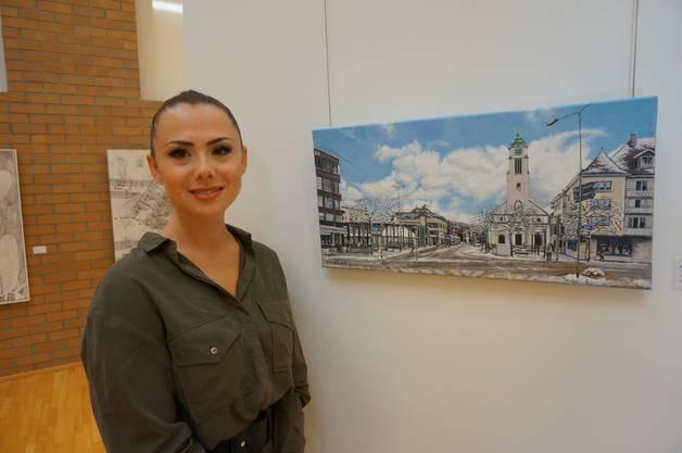 Künstlerin Petra Burek mit ihrem Bild - Dietikon Zentrum