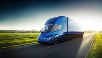 Rollen bald «Geister-LKWs» durch die Schweiz? Im Bild: Der Prototyp eines elektrischen Lastwagens von Tesla. (Symbolbild)