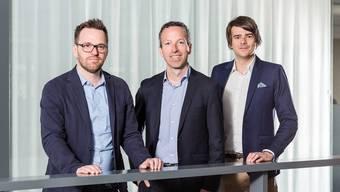 Die neue Chefredaktion der Mantelressorts: Roman Schenkel, Chefredaktor Patrik Müller, Raffael Schuppisser.