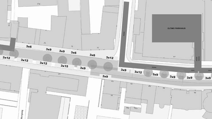 So könnte sich MiO-Geschäftsführer Mike Zettel den Wochenmarkt in der alten Aarauerstrasse vorstellen: Im oberen Teil jeweils nur mit Marktständen in der Strassenmitte, ab der Verzweigung Neuhardstrasse auf beiden Seiten.