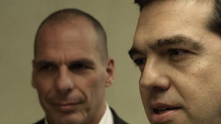 (v.l.n.r.) Griechischer Finanzminister Yanis Varoufakis und Regierungschef Alexis Tsipras