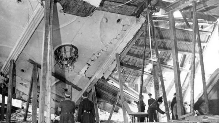 Die eingestürzte Decke des Bürgerbräu-Kellers in München. Bild: Deutsches Bundesarchiv