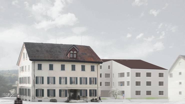 Die Visualisierung von RGP Architekten zeigt das sanierte Posthorn und den geplanten Neubau.