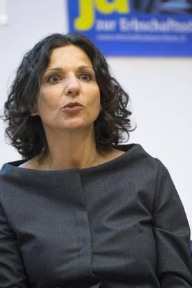 Gabriela Suter, Geschäftsleitung SP: «Im Kanton Baselland zahlt ein Göttikind 45% Erbschaftssteuer, im Kanton Schwyz 0% – das ist doch ungerecht.»