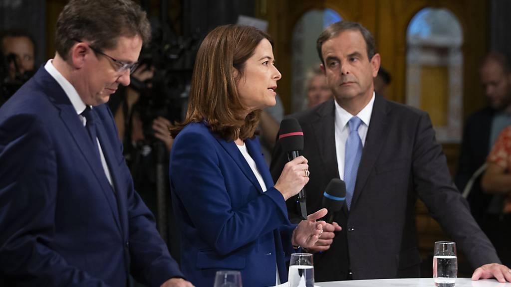 Die Parteiexponenten von SVP, FDP und CVP kämpfen gegen die aus ihrer Sicht «extreme» Konzernverantwortungsinitiative und rühren die Werbetrommel für den vom Parlament verabschiedeten Gegenvorschlag. (Archivbild)