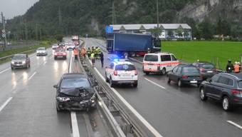 Der Unfallort auf der A4 bei Seewen im Kanton Schwyz.