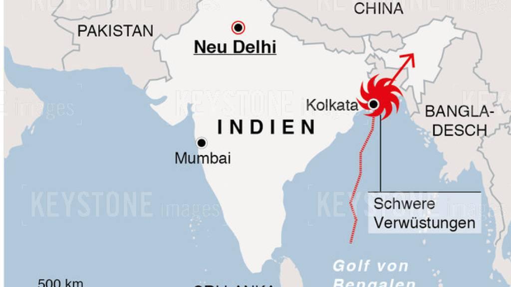 Nach dem heftigen Wirbelsturm «Amphan» mit mindestens 95 Toten hat Indiens Premier Narendra Modi Hilfen in Höhe von 10 Milliarden Rupien (rund 128 Millionen Franken) angekündigt.