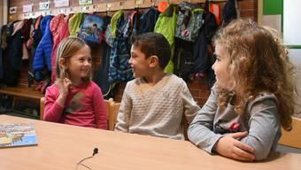 Die Kindergärtler des Kindergarten Aesch in Wohlen über den Samichlaus, sein Zuhause und sein Buch. Natürlich haben sie auch ein Versli auf Lager.