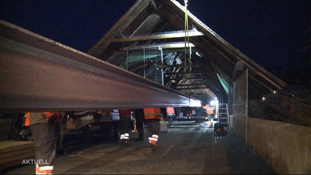 Notbrücke installiert: Olten geht bald wieder übers Wasser