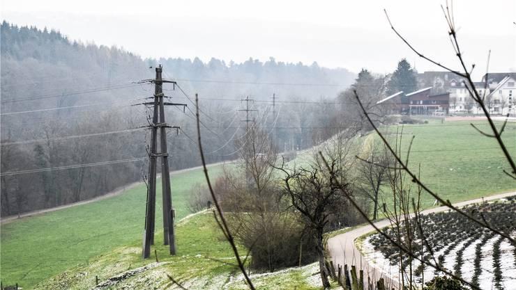 Keine Wäscheleinen mehr: Diese Starkstromleitung im Bereich des Klosters Hermetschwil soll in den Boden verlegt werden.