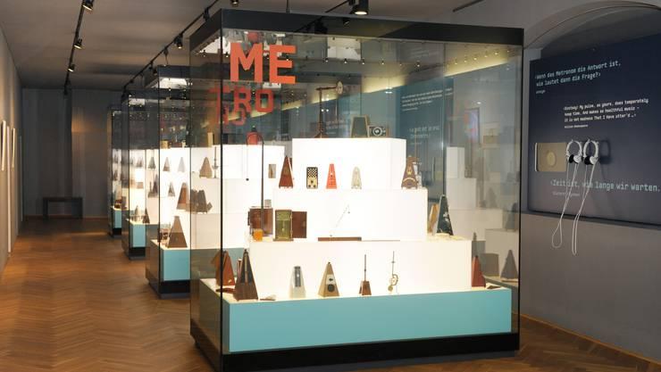 Blick in die Ausstellung im Museum für Musik mit der Metronom-Sammlung von Tony Bingham