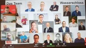 Bei der virtuellen BNI-Gründungsfeier wird das Team Wasserschloss präsentiert.