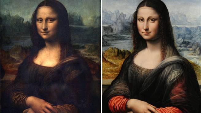 Die Ähnlichkeit ist nicht zu übersehen: Mona Lisa (links) und die jetzt im Louvre gezeigte Kopie.AFP